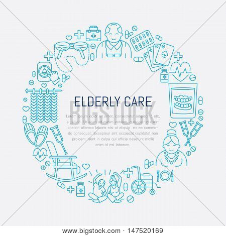 Modern vector line icon of senior and elderly care. Medical poster template with illustration of old people wheelchair leisure hospital call button leisure. Linear banner