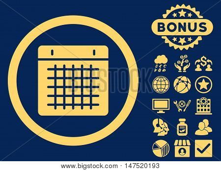 Calendar icon with bonus pictogram. Vector illustration style is flat iconic symbols, yellow color, blue background. poster