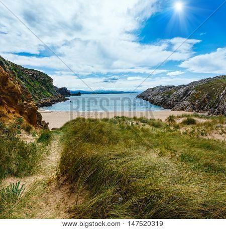 Sunshiny Ocean Coastline Landscape.