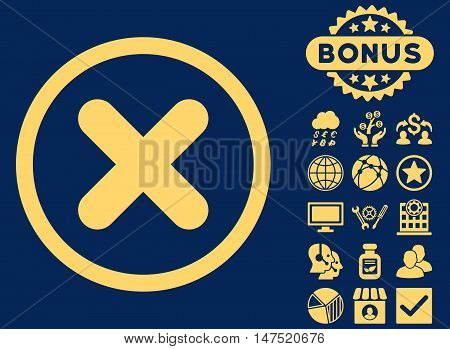 Cancel icon with bonus pictures. Vector illustration style is flat iconic symbols, yellow color, blue background.