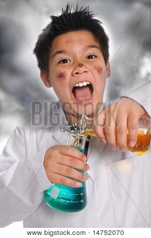Young mad scientist mixing chemicals isolated over white background