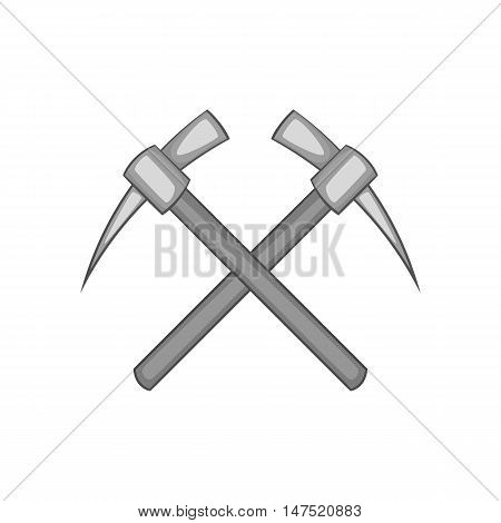 Two crosse picks icon in black monochrome style on a white background vector illustration