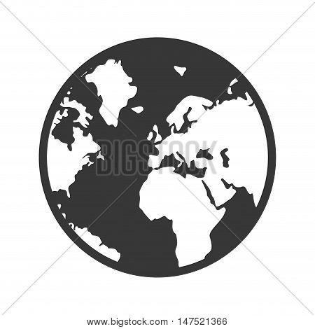 earth planet. world globe map. silhouette. vector illustration