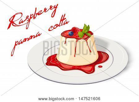 Panna cotta: raspberry jam marmelade blueberry berries mint leaves plate. Vector horizontal side view closeup illustration Italian fresh creamy sweet beautiful dessert, inscription on white background