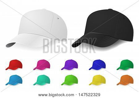 Set of baseball caps. Vector EPS10 illustration.