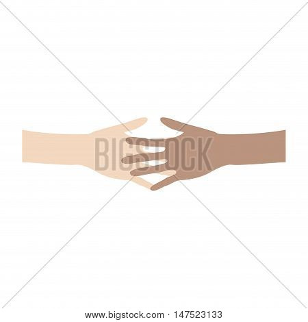 Interracial friendship and cooperation concept. Two people of different ethnicities holding hands. vector illustration