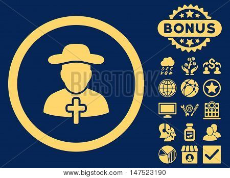 Clergy icon with bonus design elements. Vector illustration style is flat iconic symbols, yellow color, blue background.