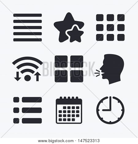 List menu icons. Content view options symbols. Thumbnails grid or Gallery view. Wifi internet, favorite stars, calendar and clock. Talking head. Vector