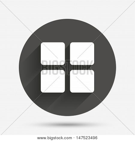 Thumbnails sign icon. Gallery view option symbol. Circle flat button with shadow. Vector