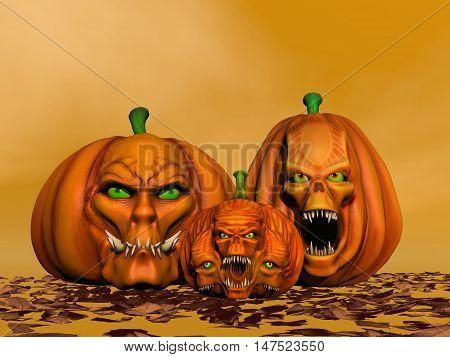 Three Halloween pumpkins and autumn leaves in orange backgroud - 3D render