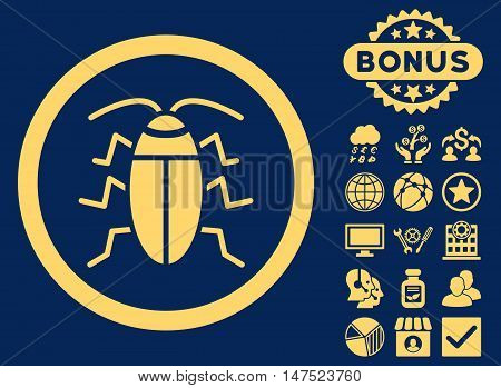 Cockroach icon with bonus elements. Vector illustration style is flat iconic symbols, yellow color, blue background. poster