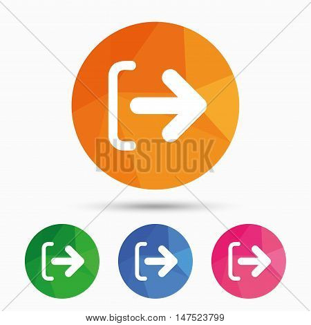 Logout sign icon. Sign out symbol. Arrow icon. Triangular low poly button with flat icon. Vector