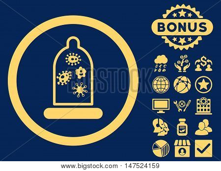 Condom Microbes icon with bonus symbols. Vector illustration style is flat iconic symbols, yellow color, blue background. poster