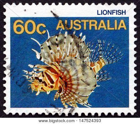 AUSTRALIA - CIRCA 1986: a stamp printed in Australia shows Lionfish Pterois Miles Fish circa 1986