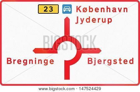 Diagrammatic Direction Road Sign Used In Denmark