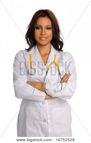 Hispanic doctor with arms crossed isolated over white background