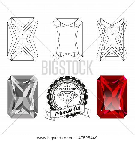 Set of princess cut jewel views isolated on white background. Princess cut jewel top and bottom views. Princess cut realistic ruby. Princess cut realistic diamond. Princess cut badge.