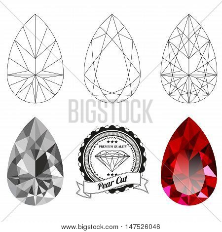 Set of pear cut jewel views isolated on white background. Pear cut jewel top and bottom views. Pear cut realistic ruby. Pear cut realistic diamond. Pear cut badge.