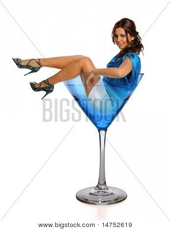Beautiful Hispanic woman in martini glass isolated over white background