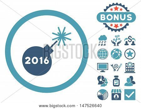 2016 Petard icon with bonus images. Vector illustration style is flat iconic bicolor symbols, cyan and blue colors, white background.