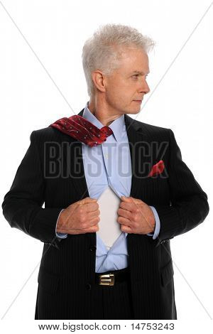 Portrait of mature businessman opening shirt isolated over white background