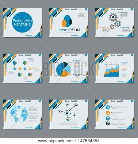 Modern professional business presentation, slideshow with blue and orange abstract geometric elements on white background vector template