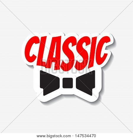Vector classic bow-tie sticker. Tie label. Template for ads, signboards, packaging and identity and web designs.