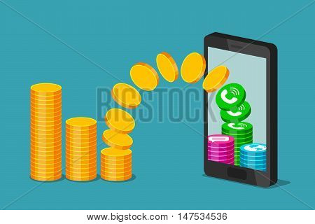 Gold coins are flying from stack of coins to phone turning into calls, messages and internet. Payment of communication services and increase of cost of services