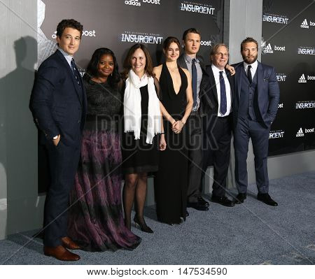 NEW YORK-MAR 16: Miles Teller, Octavia Spencer, Lucy Fisher, Shailene Woodley, Ansel Elgort, Douglas Wick & Jai Courtney at