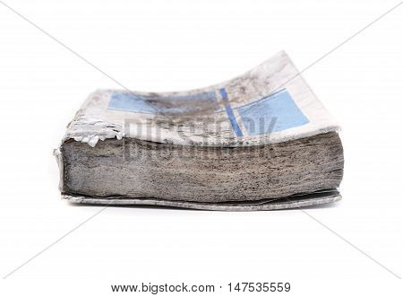 old book with mold damaged by water and damp