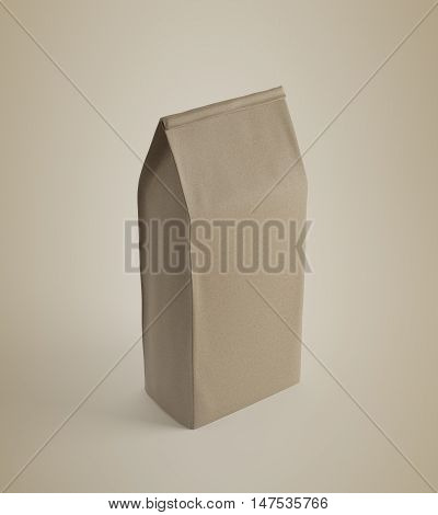Beige Lunch Paper Bag On Beige Surface