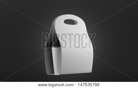 White Container For Coffee To Go Against Black Background