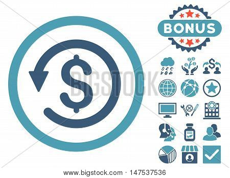 Chargeback icon with bonus pictogram. Vector illustration style is flat iconic bicolor symbols, cyan and blue colors, white background.