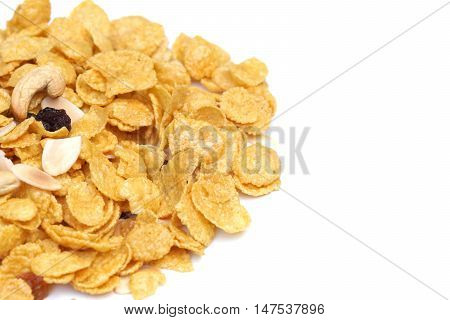 Caramel corn flake isolated on white background