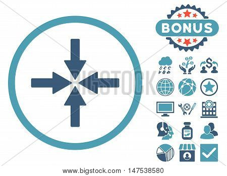 Collide Arrows icon with bonus design elements. Vector illustration style is flat iconic bicolor symbols, cyan and blue colors, white background.