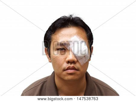 Medicine plaster patch on human injury wounded eye