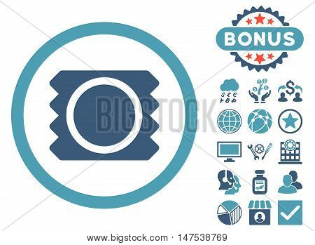 Condom icon with bonus pictures. Vector illustration style is flat iconic bicolor symbols, cyan and blue colors, white background.