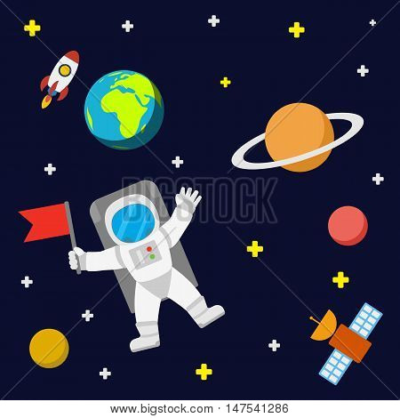 Universe vector template background with spaceman and satellite. Outer space with astronaut planets and stars. poster