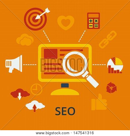 SEO infographic design concept icons for web and mobile services and apps. Vector illustration. Symbols template combined from icons which symbolized a success internet searching optimization process.