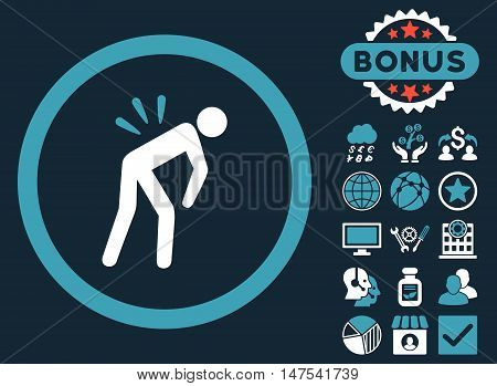 Backache icon with bonus images. Vector illustration style is flat iconic bicolor symbols, blue and white colors, dark blue background.