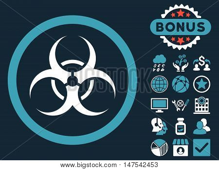 Biohazard Symbol icon with bonus pictures. Vector illustration style is flat iconic bicolor symbols, blue and white colors, dark blue background.