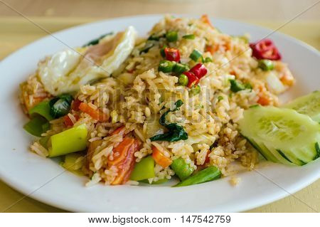 Fried Rice with Vegetables and fried eggs thai food