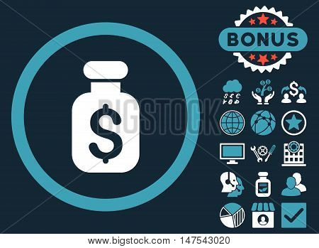 Business Remedy icon with bonus pictures. Vector illustration style is flat iconic bicolor symbols, blue and white colors, dark blue background.