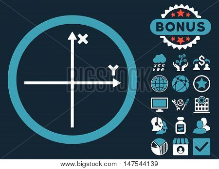 Cartesian Axis icon with bonus symbols. Vector illustration style is flat iconic bicolor symbols, blue and white colors, dark blue background.