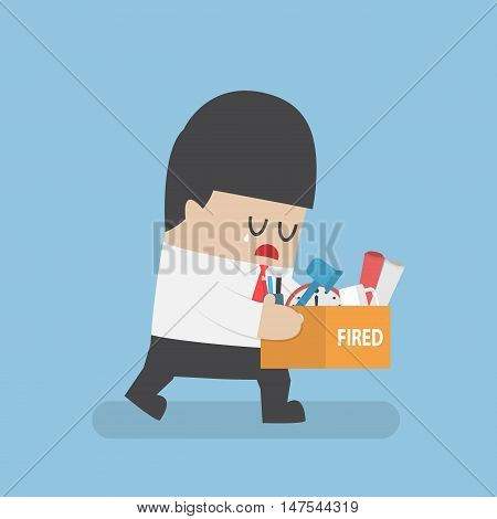 Dismissed Businessman Holding Box With Personal Stuff