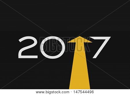 2017 Happy New Year Concept Text with Yellow Direction background