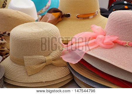 Stylish Pretty Ladies Straw Hats With Bows Mostly White With Pink And Peach And Cream