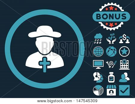 Clergy icon with bonus symbols. Vector illustration style is flat iconic bicolor symbols, blue and white colors, dark blue background.