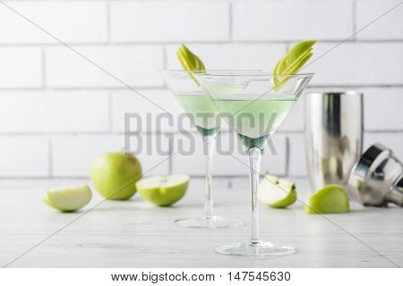 Fresh Home Made Apple Martini Cocktails