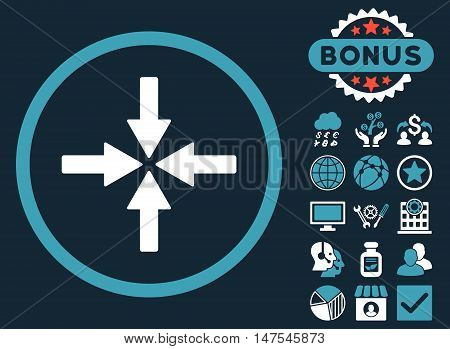 Collide Arrows icon with bonus pictures. Vector illustration style is flat iconic bicolor symbols, blue and white colors, dark blue background.